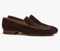 Loafer aus Veloursleder mit Metallic-Paspelierung ebony