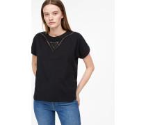 Jersey Shirt mit Lochstickerei black