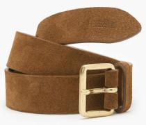 Ledergürtel mit Metallschließe maroon brown