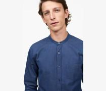 Stehkragen Hemd washed indigo