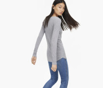 Langarmshirt mit Kaschmir grey heather melange