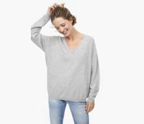 V-Pullover aus reinem Kaschmir light grey melange