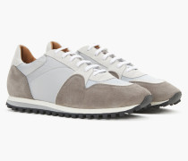Runner aus Materialmix taupe grey