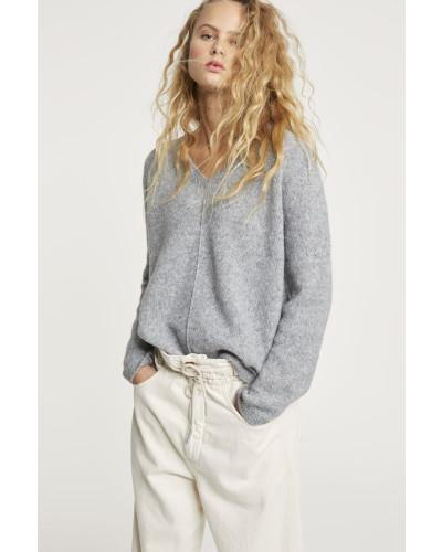 V-Pullover aus Royal Baby Alpaka Mix grey heather melange