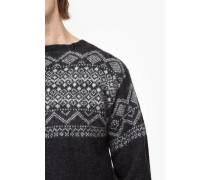 Strickpullover aus Alpaka Mix dark grey melange