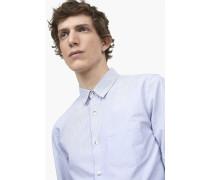 Fein gestreiftes Hemd mit Brusttasche sky blue
