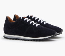 Runner aus Veloursleder navy