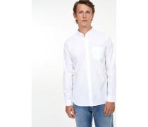 Button Down Hemd aus Melange-Oxford white
