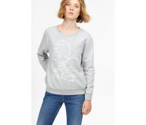 Melange Sweatshirt mit Heritage Print light grey melange