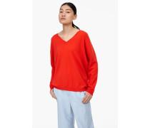 V-Pullover aus reinem Kaschmir orange lava