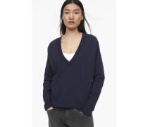 Sweatshirt mit V-Ausschnitt navy