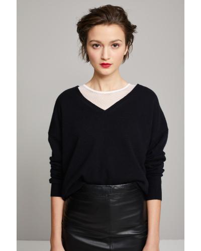 V-Pullover mit Cashmere black