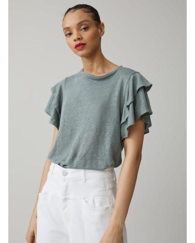 T-Shirt mit Volants aus Leinen dusty pine