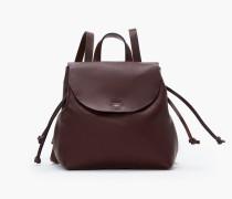 Rucksack aus Leder bordeaux