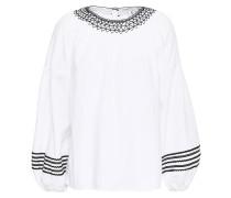 Ghada Embroidered Cotton-poplin Top