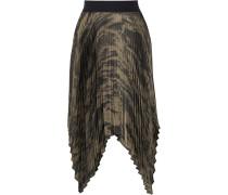 Asymmetric Pleated Printed Satin Skirt Mehrfarbig