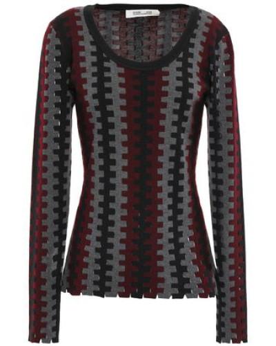 Cutout Intarsia Merino Wool Sweater Merlot