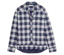 Plaid Pima Cotton Pajama Shirt Navy