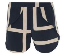 Split printed silk crepe de chine shorts