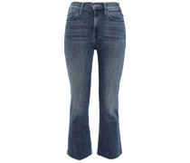Cropped Faded High-rise Bootcut Jeans