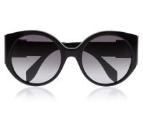 Bow Buckle Round-frame Acetate Sunglasses Schwarz
