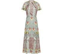 Flux Pussy-bow Printed Satin-jacquard Midi Dress
