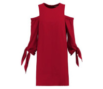 Cold-shoulder crepe mini dress