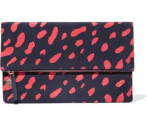 Fold-over printed canvas clutch