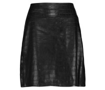 Majorelle Croc-effect Leather Mini Skirt Schwarz