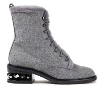 Suzi Shearling-lined Felt Combat Boots