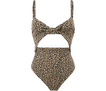 Woman Cutout Knotted Leopard-jacquard Swimsuit Animal Print