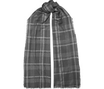 Frayed Metallic Checked Wool Scarf
