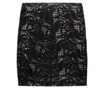 Paisley Laser-cut Suede Mini Skirt Schwarz
