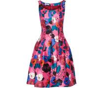 Printed Silk And Cotton-blend Dress Fuchsia