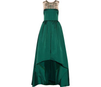 Embellished Satin-twill Gown Tannengrün
