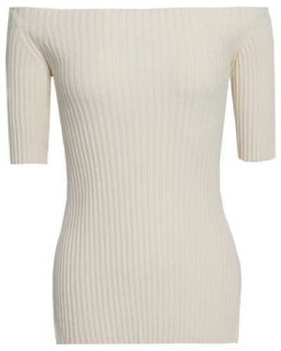 Off-the-shoulder Ribbed Stretch-silk Top Ivory