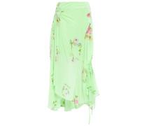 Arya Asymmetric Ruched Printed Crepe De Chine Midi Skirt