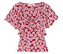 Lydia Ruffled Floral-print Silk Crepe De Chine Top