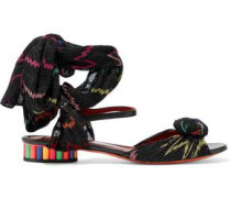 Leather and crochet-knit sandals