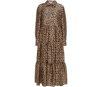 Hemdkleid in Midilänge aus Glänzendem Twill mit Leopardenprint und Raffung