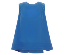 Woman Silk-crepe Top Cobalt Blue