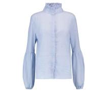 Manny Ruffled Striped Cotton-voile Blouse Blau