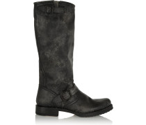 Veronica Distressed Leather Boots Black