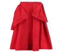 Layered pleated satin-twill skirt