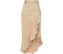 Woman Asymmetric Ruffled Cotton-blend Twill Skirt Beige