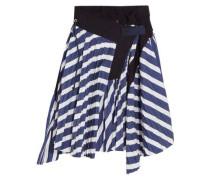 Cole asymmetric pleated striped cotton skirt