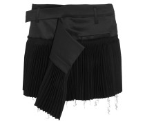 Pleated Wool-blend And Twill Mini Skirt Schwarz