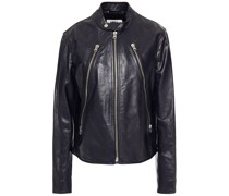 Zip-detailed Leather Biker Jacket