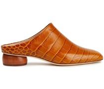 Gaby Mules aus Leder mit Krokodileffekt