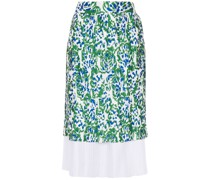 Pleated Printed Twill Skirt